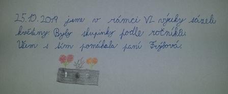 Sázení podzimních květin text od žáků