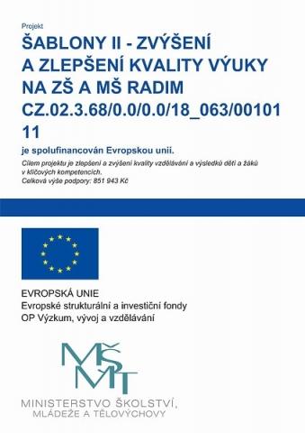Šablony II - zlepšení a zvýšení klaity výuky na ZŠ a MŠ Radim